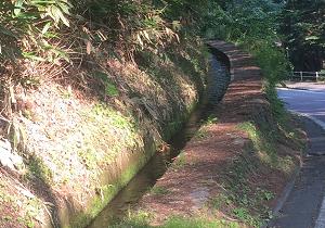 水が逆流しているように見える用水路